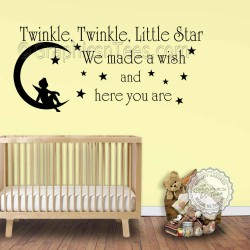 Twinkle Twinkle Little Star Wall Stickers Baby Boys Girls Bedroom Wall Quote Decor Decals with Boy Sitting on the Moon