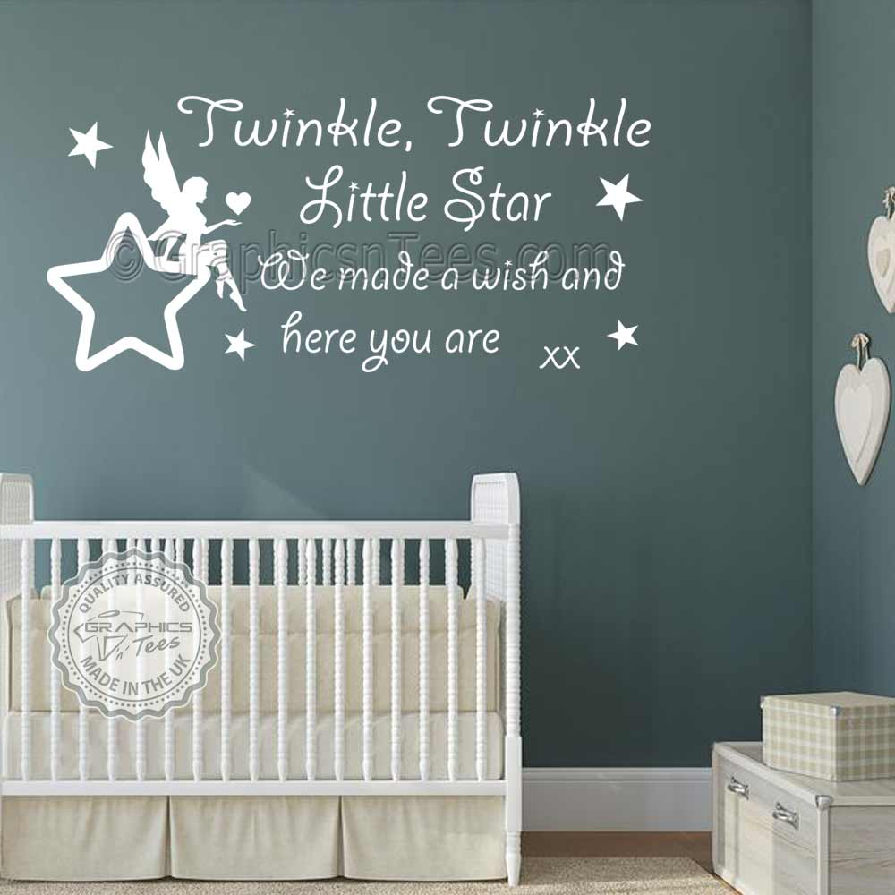 Twinkle Twinkle Little Star Wall Stickers Baby Boys Girls Bedroom Wall  Quote Decor Decals With Fairy Sitting On Star 01