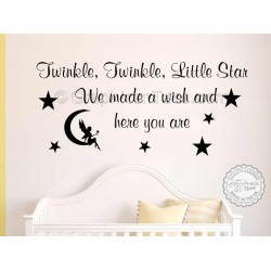 Twinkle Twinkle Little Star Nursery Wall Sticker Baby Boy Girl Bedroom Wall Quote Decor Decal with  Fairy Sitting on the Moon
