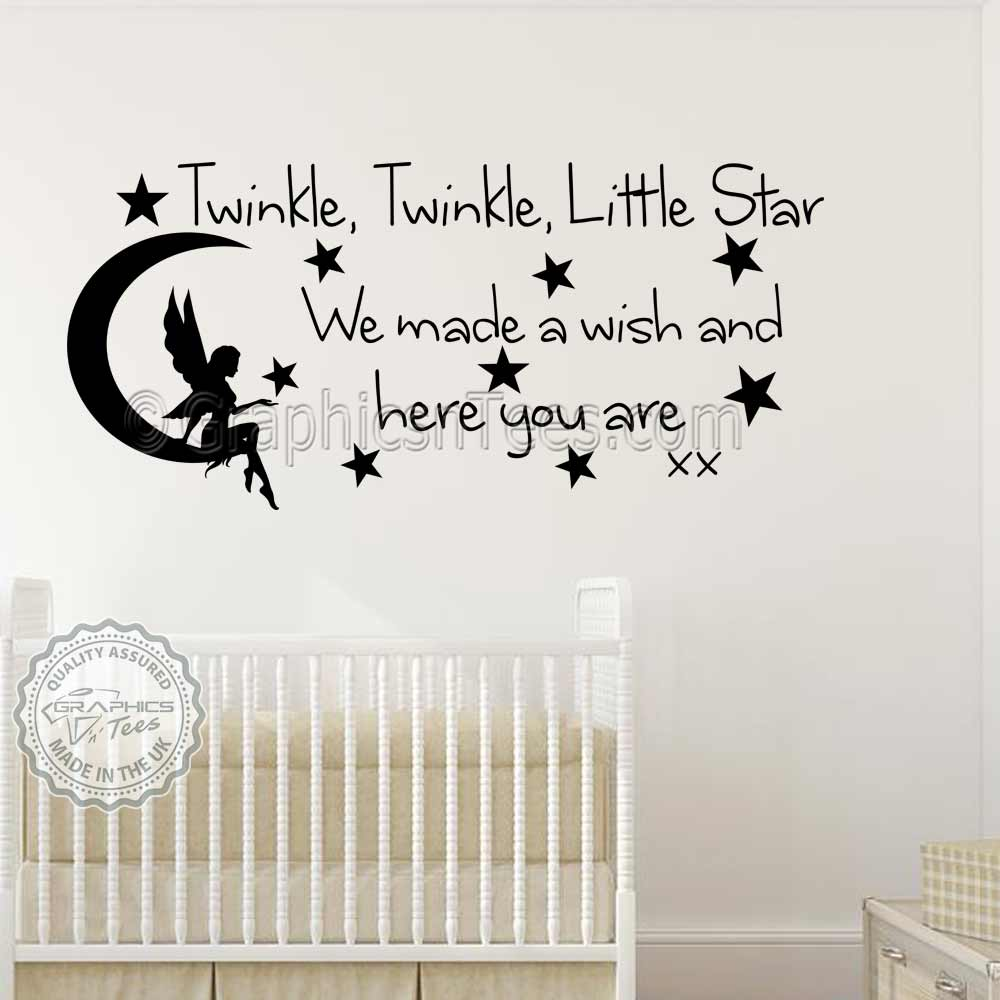 Baby Boys Girls Nursery Bedroom Wall Stickers Twinkle Twinkle Little