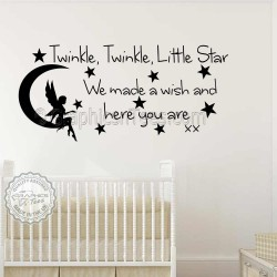 Baby Boys Girls Nursery Bedroom Wall Stickers Twinkle Twinkle Little Star Wall Stickers Quote Decor Decals with Fairy On Moon -KD