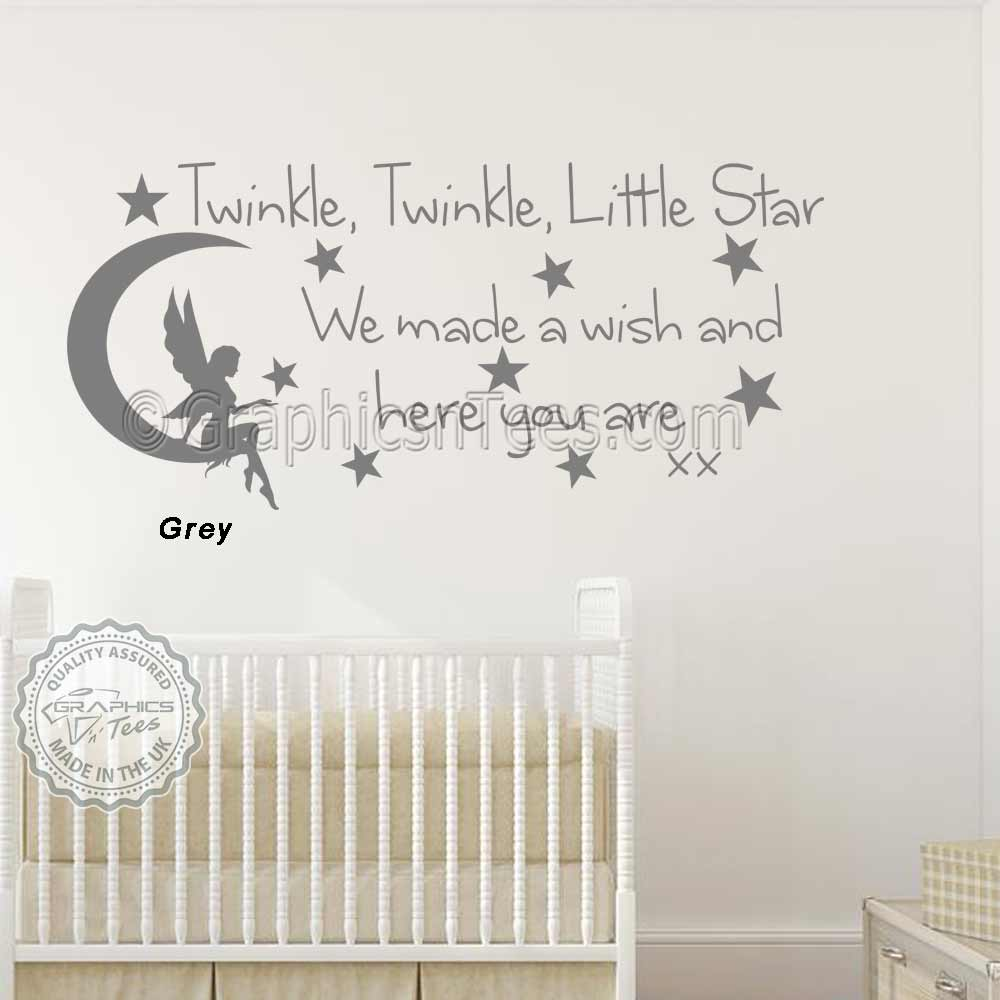 Baby Boys Girls Nursery Bedroom Wall Stickers Twinkle Twinkle Little Star  Wall Stickers Quote Decor Decals With Fairy On Moon  KD