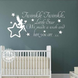 Twinkle Twinkle Little Star Wall Stickers Baby Boys Girls Bedroom Wall Quote Decor Decals with Fairy Sitting on Star 02