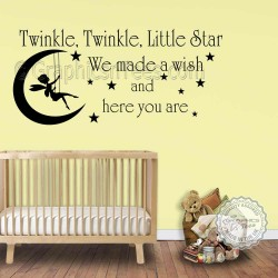 Twinkle Twinkle Little Star Wall Stickers Baby Boys Girls Bedroom Wall Quote Decor Decals with Fairy Swinging On The Moon