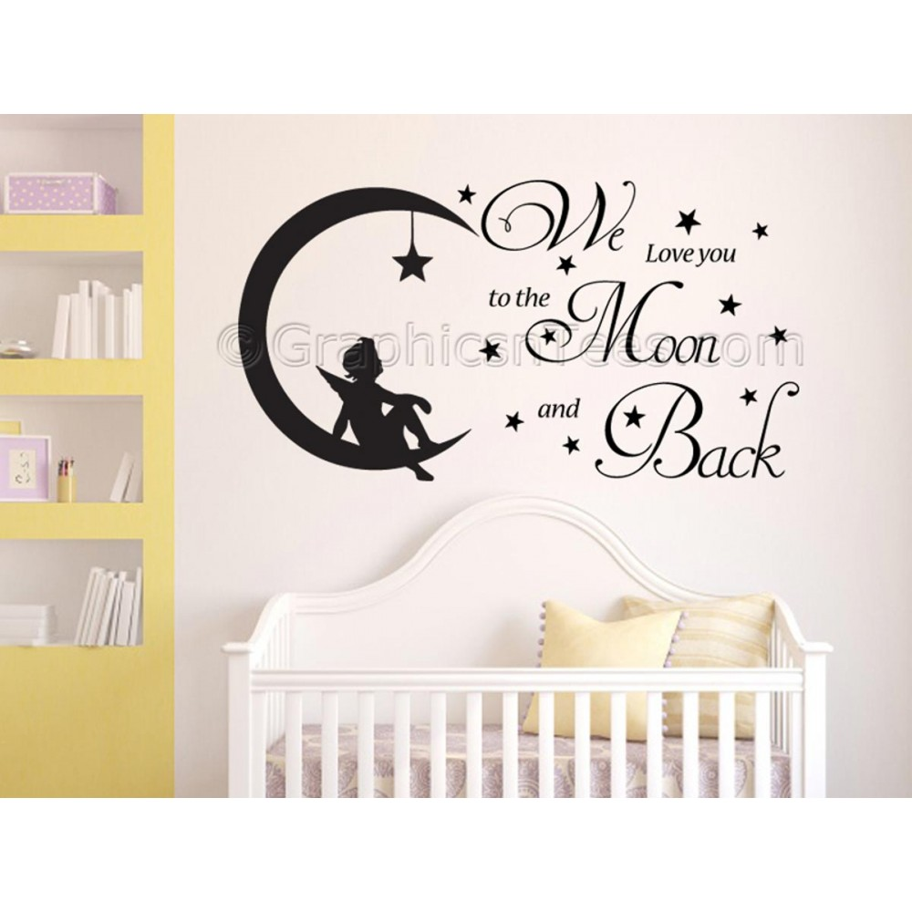 nursery wall sticker we love you to the moon and back childrens