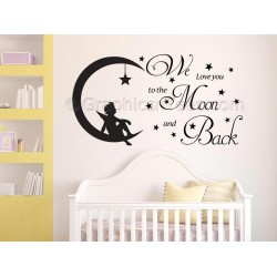 Nursery Wall Sticker, We Love You To The Moon and Back, Childrens Bedroom Wall Quote