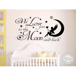 Nursery Wall Sticker, We Love You To The Moon and Back Baby Boy Girl Bedroom Wall Quote Decor Decal
