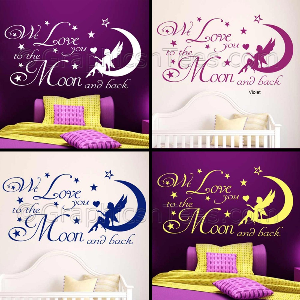 nursery wall sticker we love you to the moon and back baby boy girl bedroom wall quote decor decal. Black Bedroom Furniture Sets. Home Design Ideas