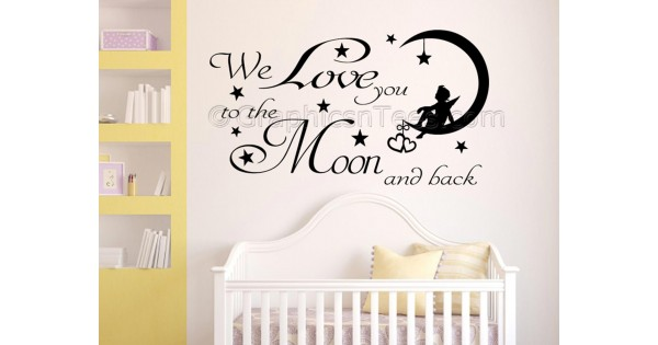 we love you to the moon and back nursery bedroom wall sticker quote