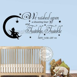 Twinkle Twinkle Nursery Wall Sticker Baby Boy Girl Bedroom Wall We Wished Upon A Shooting Star Quote Decor Decal