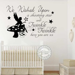 Nursery Wall Sticker We Wished Upon a Shooting Star Twinkle Twinkle Here You Are Baby Boy Girl Bedroom Wall Quote Decor Decal