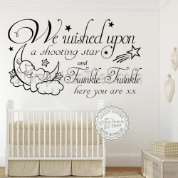 We Wished Upon a Shooting Star Twinkle Twinkle Nursery Wall Sticker Baby Boy Girl Bedroom Wall Quote Decor Decal