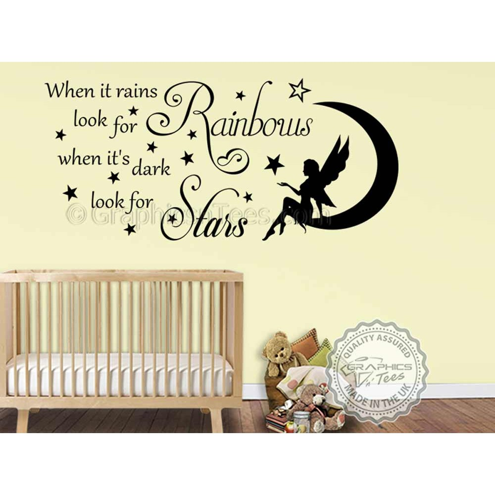 When It Rains Look For Rainbows Decorative Vinyl Wall Art Sticker Quotes Mural