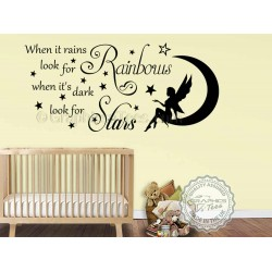 When it Rains Look for Rainbows Wall Sticker, Bedroom Nursery Wall Quote Decor Decal