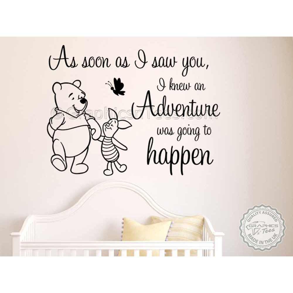 Winnie The Pooh and Piglet Nursery Wall Sticker As Soon As I ...