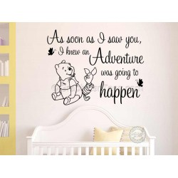 Nursery Wall Sticker Winnie The Pooh and Piglet Bedroom Wall Decor, As Soon As I Saw You, Adventure Quote
