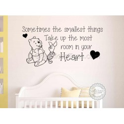 Nursery Wall Sticker, Winnie The Pooh and Piglet Bedroom Decor Decal, Sometimes Smallest Things Quote