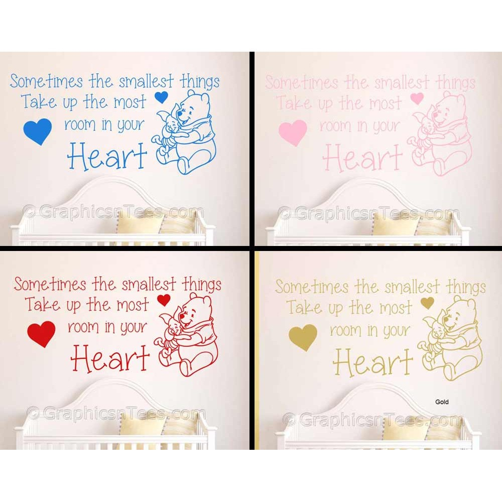 Winnie The Pooh Quotes Sometimes The Smallest Things: Nursery Wall Sticker Quote, Winnie The Pooh And Piglet