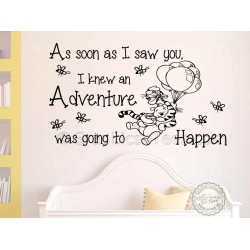 Nursery  Wall Sticker, Winnie The Pooh and Tigger Bedroom Playroom Decor Decal, As Soon As I Saw You, Adventure Quote
