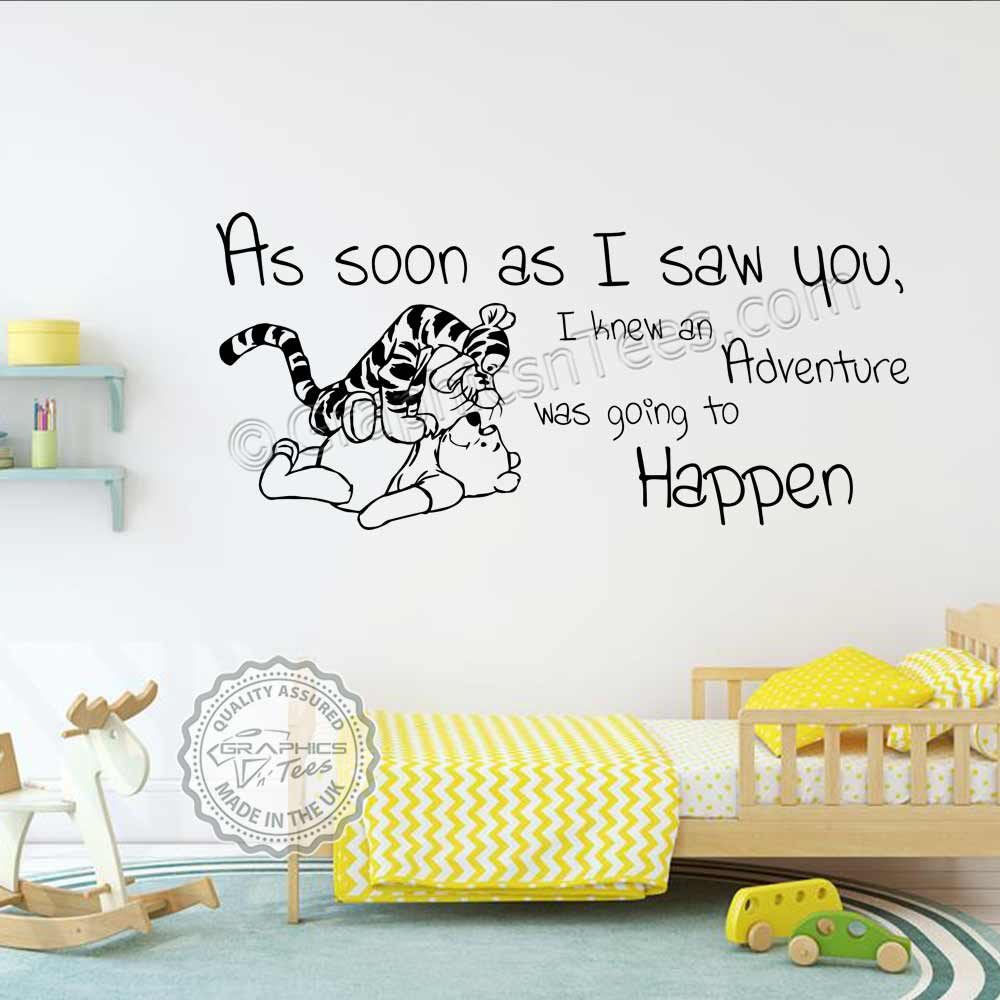 Winnie The Pooh And Tigger Nursery Wall Stickers As Soon I Saw You Adventure Going To Hen Baby Boys S Bedroom Decor Decals