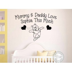 Personalised Nursery Wall Sticker, Winnie The Pooh Bedroom Wall Decor Decal Mummy & Daddy Love Quote