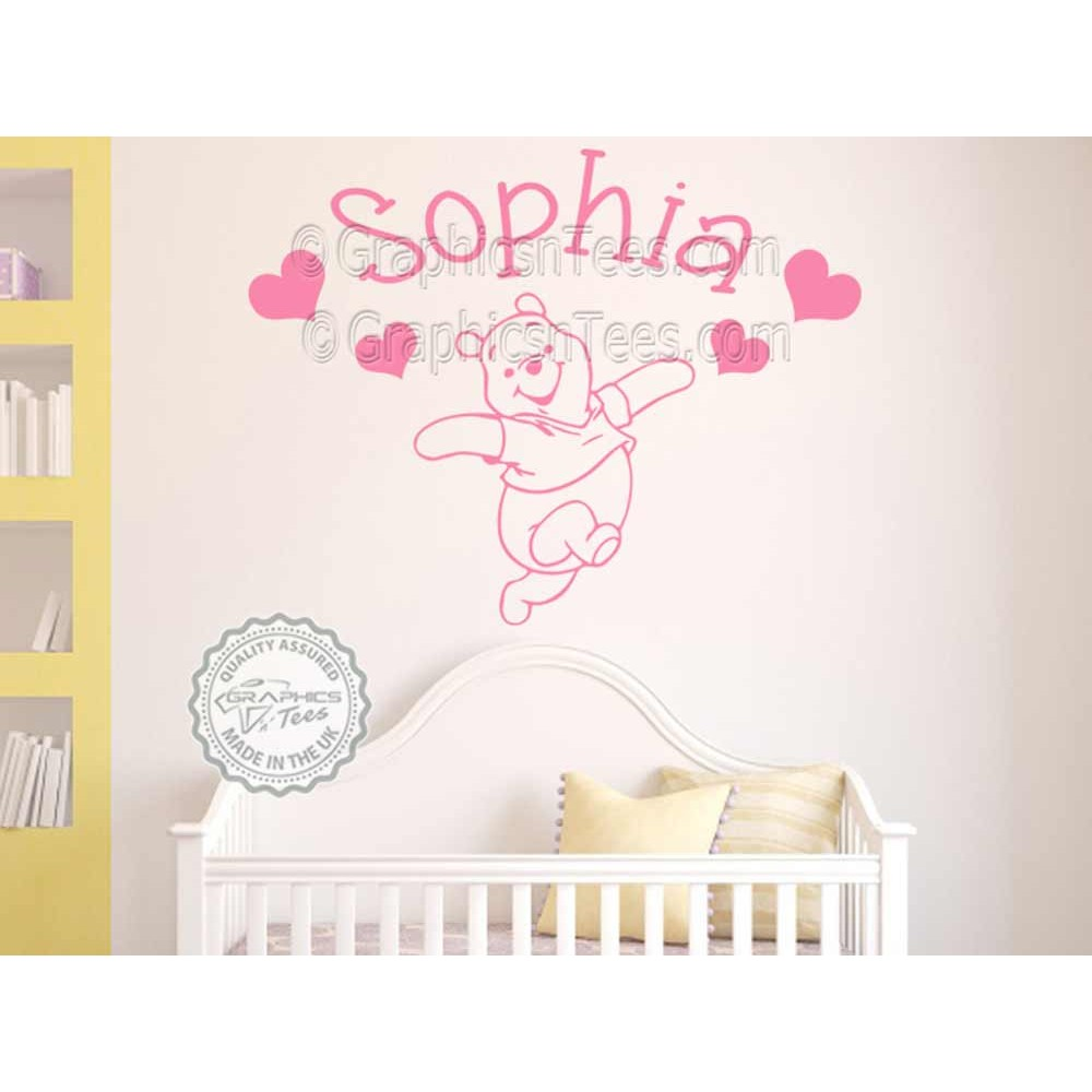Personalised Nursery Wall Sticker, Winnie The Pooh Bedroom Wall Decor Decal