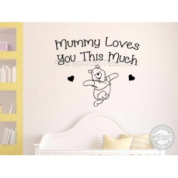 Nursery Wall Sticker, Winnie The Pooh Bedroom Wall Quote Decor Decal Mummy Loves You