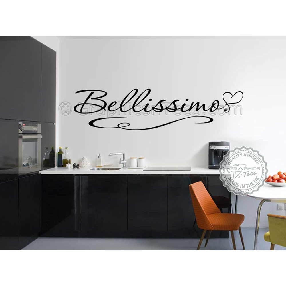 Bellissimo kitchen wall sticker quote dining room wall decal for Black kitchen wall decor