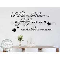 Bless The Food Before Us, Kitchen Dining Room Wall Art Mural Sticker Decals Quote