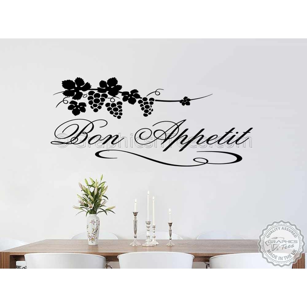 Bon Appetit Kitchen Wall Sticker Quote, With Grapevine, Kitchen Dining Room  Wall Mural