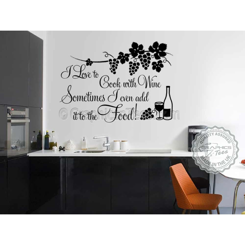 i love to cook with wine funny kitchen cooking quote vinyl wall art sticker - Kitchen Wall Art