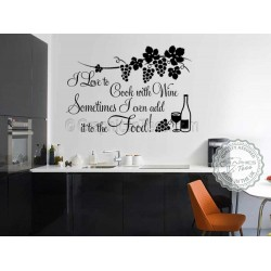I Love to Cook with Wine,  Funny Kitchen Cooking Quote, Vinyl Wall Art Sticker