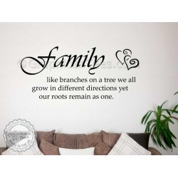 Family Like Branches on a Tree, Kitchen Dining Room Family Wall Quote Sticker with Hearts
