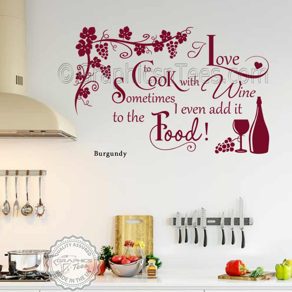Kitchen Decor Quotes: Cook With Wine Kitchen Wall Sticker Funny Kitchen Cooking