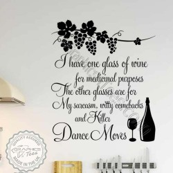 Glass of Wine For Health Benefits Funny Kitchen Wall Sticker Fun Wine Cooking Quote