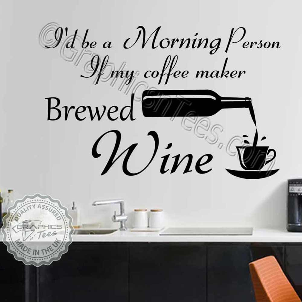 Funny Kitchen Wall Stickers Fun Wine Quote Decor Decals