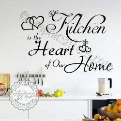 The Kitchen is the Heart of our Home Family Wall Sticker Quote with Hearts - 08
