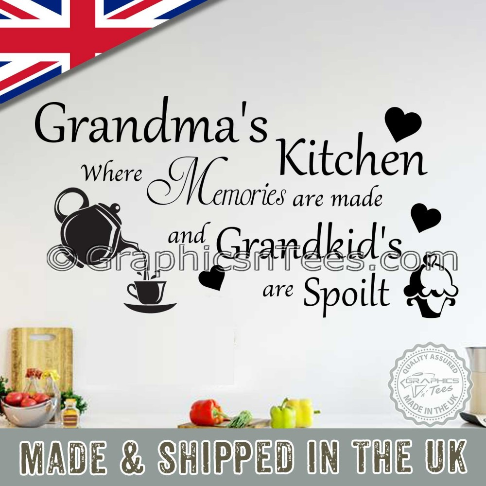 Grandma S Kitchen Wall Stickers Memories Are Made Family Quote With Tea Pot And Cupcake Wall Decor Decals