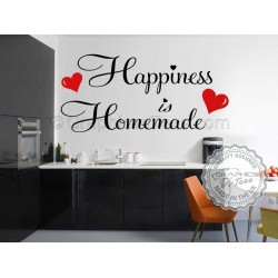 Kitchen Wall Sticker, Happiness is Homemade with 2 Red Hearts, Family Wall Sticker Quote