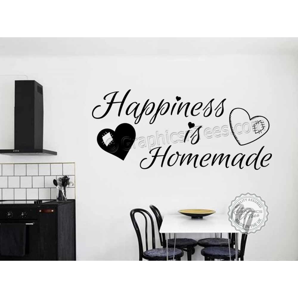 Happiness Is Homemade, Kitchen Dining Room Home Family Wall Sticker Quote