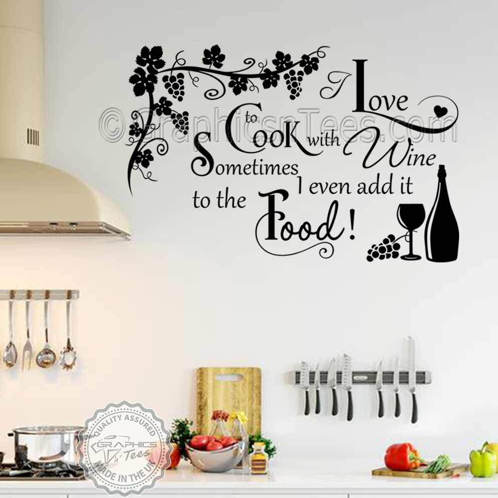cook with wine kitchen wall sticker funny kitchen cooking quote home wall art decor decal with grapevine - Kitchen Wall Art
