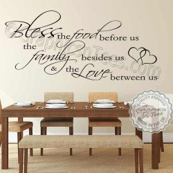 Bless The Food Before Us Family Wall Sticker Quote Kitchen Dining Room Home Vinyl Mural Decals