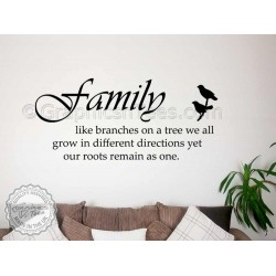 Family Like Branches on a Tree, Kitchen Dining Room Wall Art Mural Sticker Decals Quote