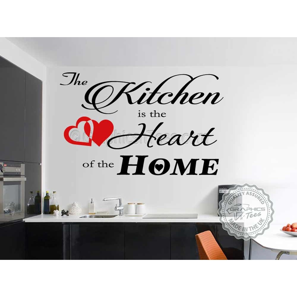 Kitchen Is The Heart Of Home Dining Room Wall Art Quote Vinyl Decor Decal With Red