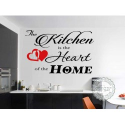 Kitchen is The Heart of the Home, Kitchen Dining Room Wall Art Quote Vinyl Decor Decal with Red Heart