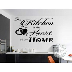 Kitchen is The Heart of the Home, Kitchen Dining Room Wall Art Quote Vinly Decor Decal