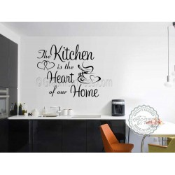 Kitchen Is The Heart Of Our Home with Heart and Coffee Cup Family Wall Sticker, Kitchen Dining Room