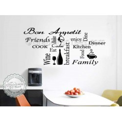 Kitchen Wall Sticker Montage Word Collage Kitchen Quotes Decor Decal