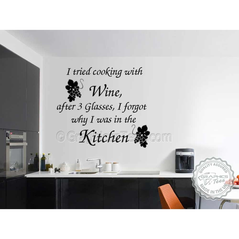 I Tried Cooking With Wine Kitchen Dining Room Wall Art Mural