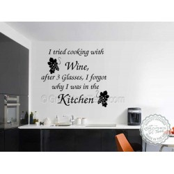 I Tried Cooking with Wine, Kitchen Dining Room Wall Art Mural Sticker Decals Quote